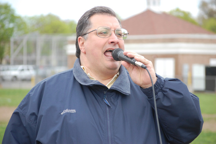 "Tony Kateridge, a graduate of Valley Stream North High School, sang the ""Star-Spangled Banner"" on April 30."
