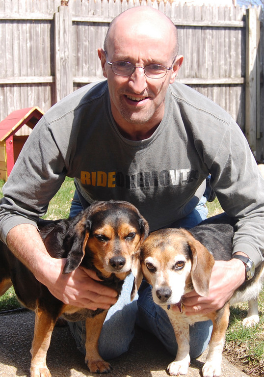 Richard Infield with his dogs Dakota and Chippy.