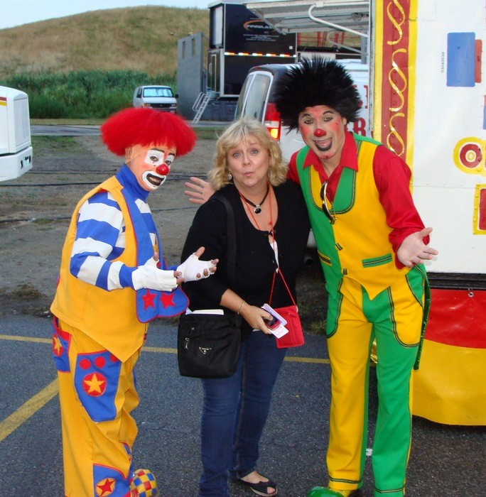 HEre I am in my element — just hanging around with some clowns.