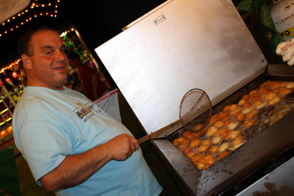 Gary Sciacca, right, made zeppoli during the Mt. Carmel Festival.