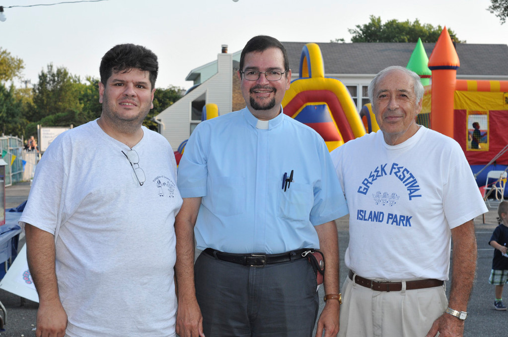 Peter Rizik, Panaghia president, Father John Paizis and Christos Papadopoulos all came out for the Greek Festival.