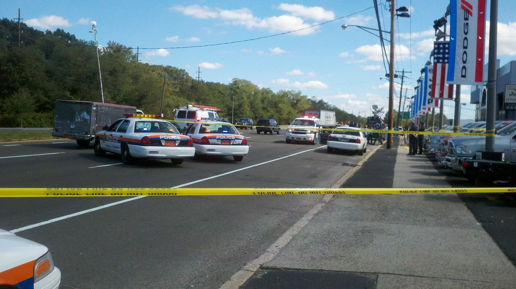 The scene in Wantagh, where police pursued and apprehended two of the suspects.