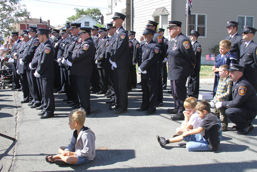 Meadowmere Fire Department firefighters remembered their fallen comrade, Thomas Jurgens, at the street dedication event.