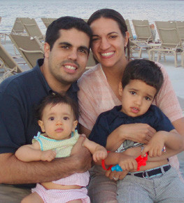 Calhoun High School graduate and pediatric dentist Rania Elbaz, with husband, Zachary, son Amir, 3, and daughter, Noora, 11 months old. In November, Elbaz will open her own practice in Merrick.
