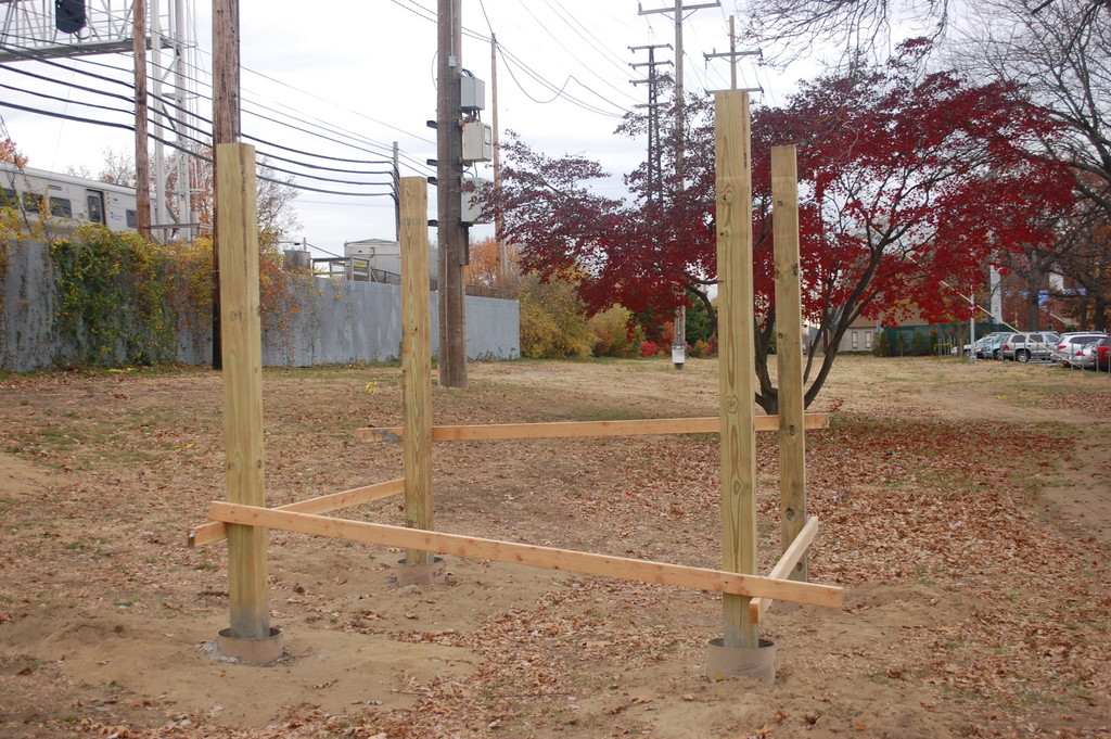 The framework is in place for a shelter, to be built by eagle Scout hopeful Jack Clifford, for the new Valley Stream dog park.
