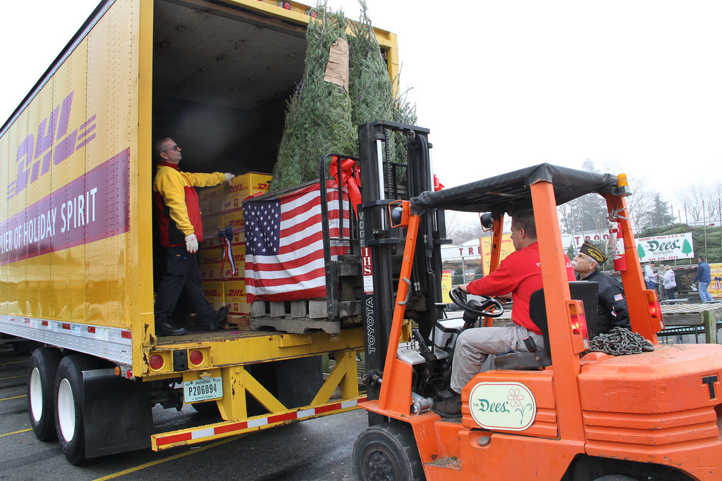 Joe DiDominica of Dee's Nursery loads trees onto the DHL truck.
