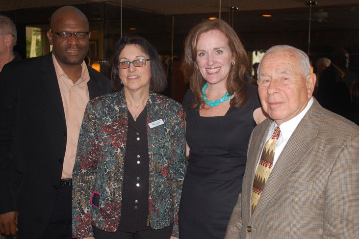 Nassau County District Attorney Kathleen Rice, second from right, with Chamber board member Darryl Granum, left, President Debbi Gyulay and Vice President Jules Rabin.