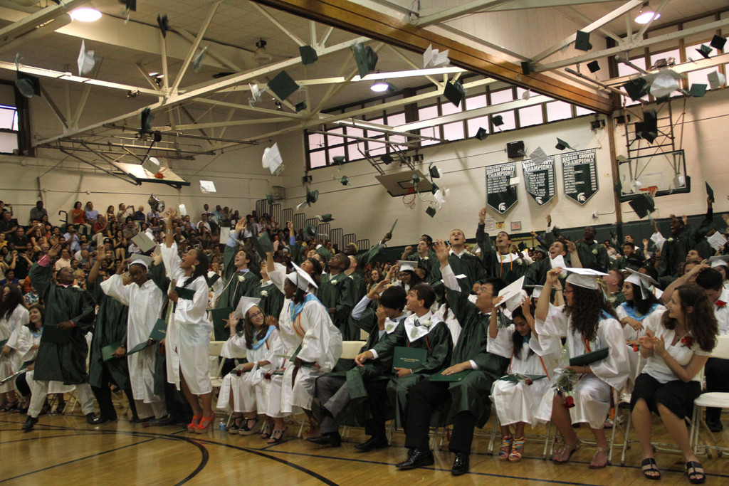 Valley stream North High School's 194 graduates couldn't resist a graduation tradition.