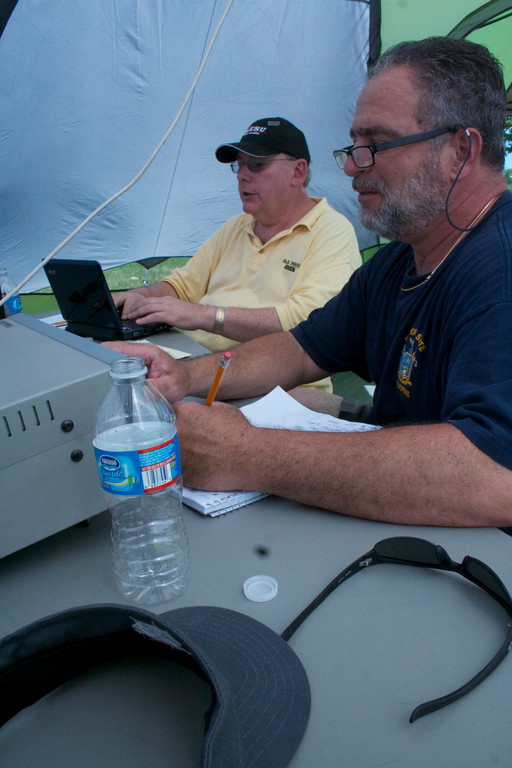 Nassau Amateur Radio Club Morse coders transmitted signals to connect with other stations during Field Day last weekend.
