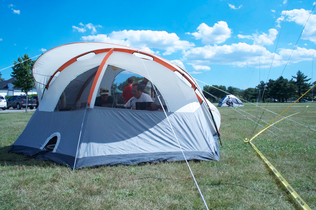 Radio operations were conducted in pop-up tents in Eisenhower Park.