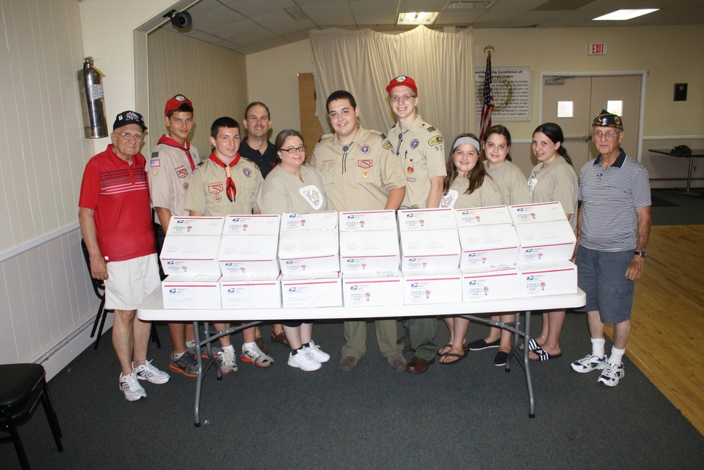 Members of the American Legion Cathedral Post 1087 in West Hempstead and Boy Scout Troop 93 in Franklin Square gathered last week to prepare care packages to be sent to troops in Afghanistan.