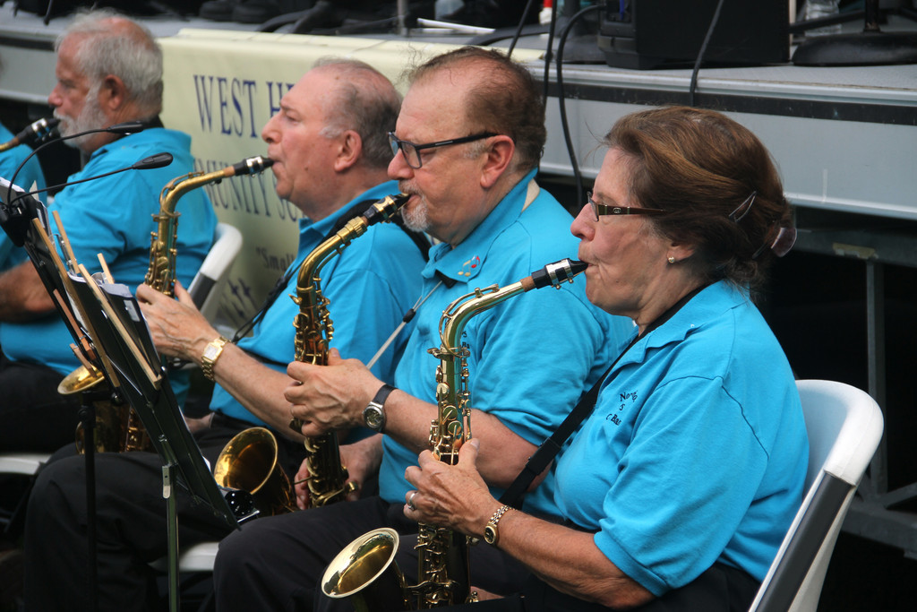 Members of the North Shore Pops Concert Band performed a variety of tunes at the Echo Park baseball field in West Hempstead last Sunday.