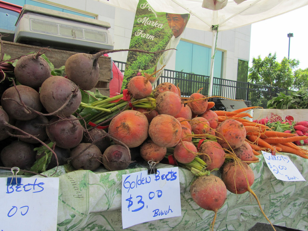 The Elmont Farmers' Market offers fresh local offerings like golden beets, corn and tomatoes.