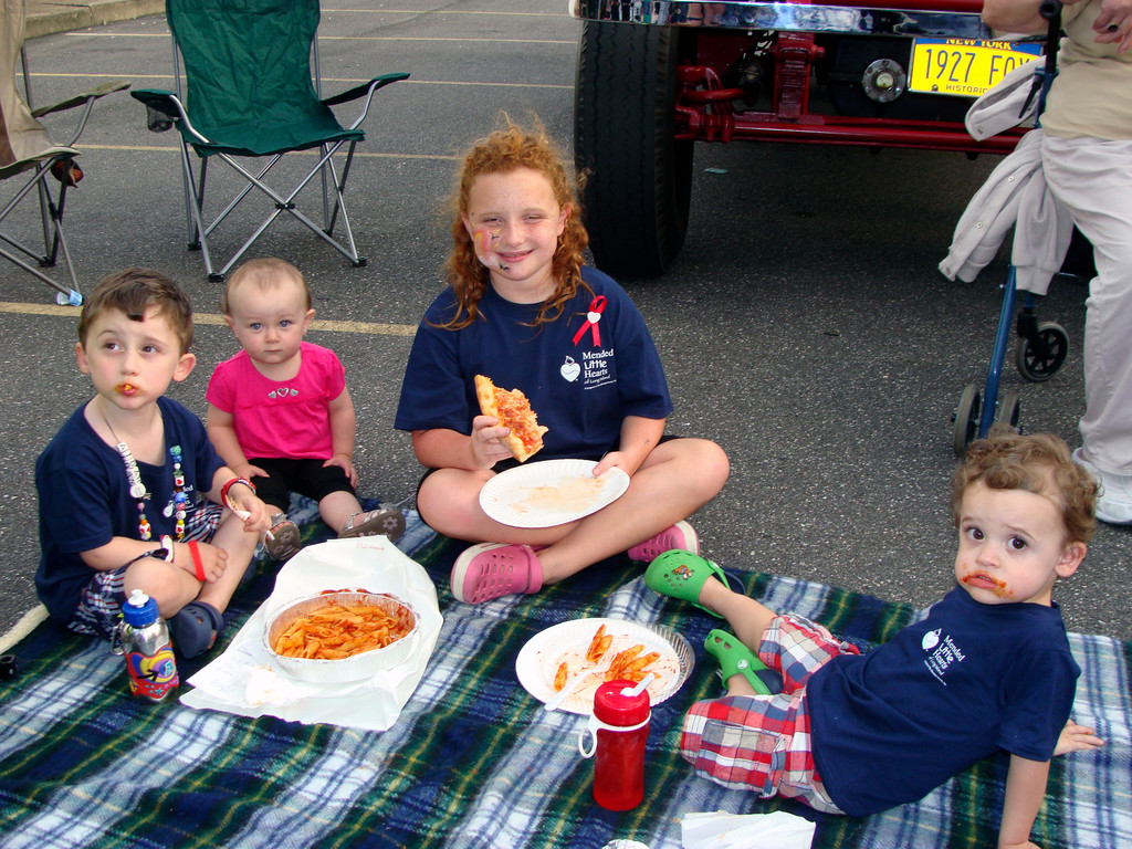 A pizza party for Aidan, 4, Gianna, 16 months, Emily, 9, and Nolan, 21 months.