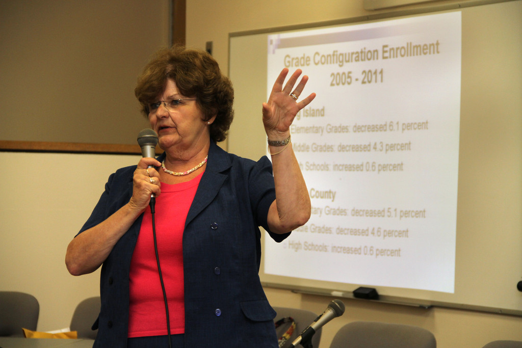 Joan Townley, of Western Suffolk BOCES, presented the study's results to more than 20 residents.