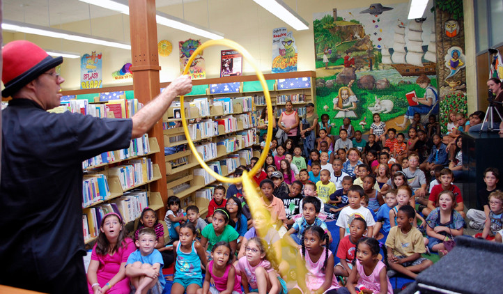 Children who completed the Henry Waldinger Memorial Library's Summer Reading Club requirements were treated to a magic and juggling show by Lou Johnson, of Valley Stream, on Aug. 22.