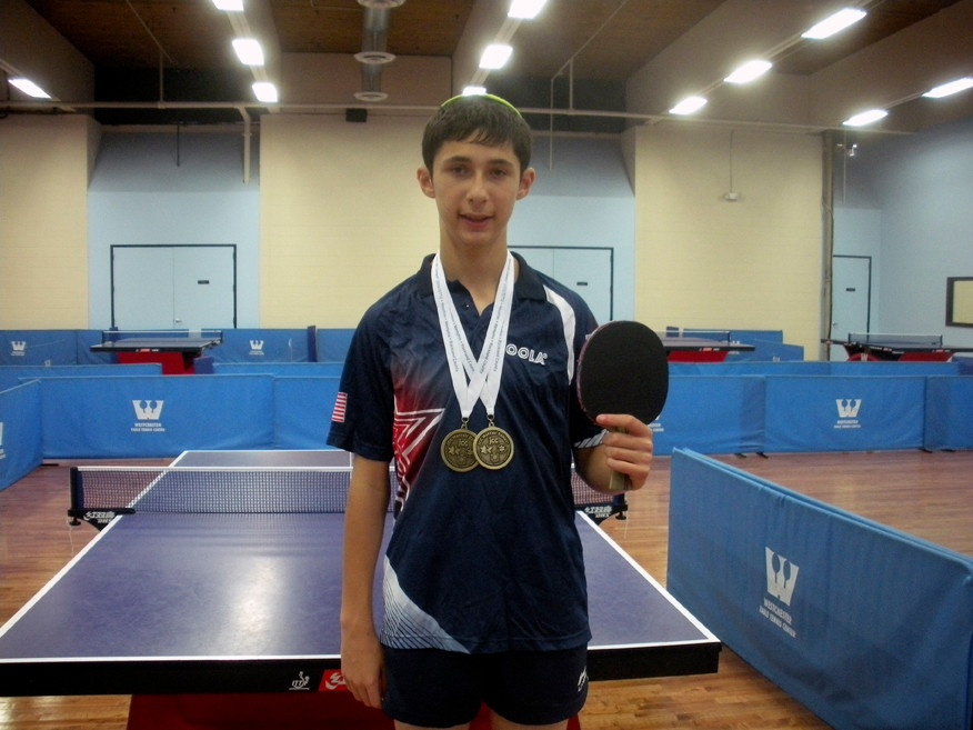 Akiva Ackerman won the gold medal in table tennis in his age division at the JCC Maccabi Games.