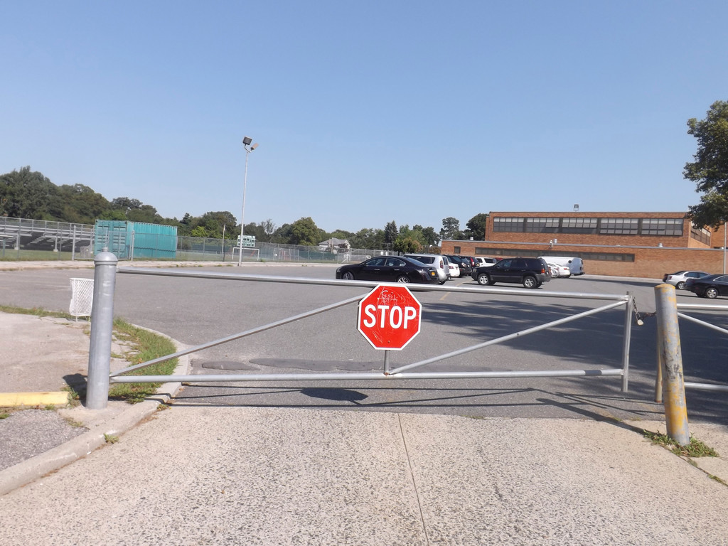 The student parking lot at Valley Stream North High School is usually empty during the day.