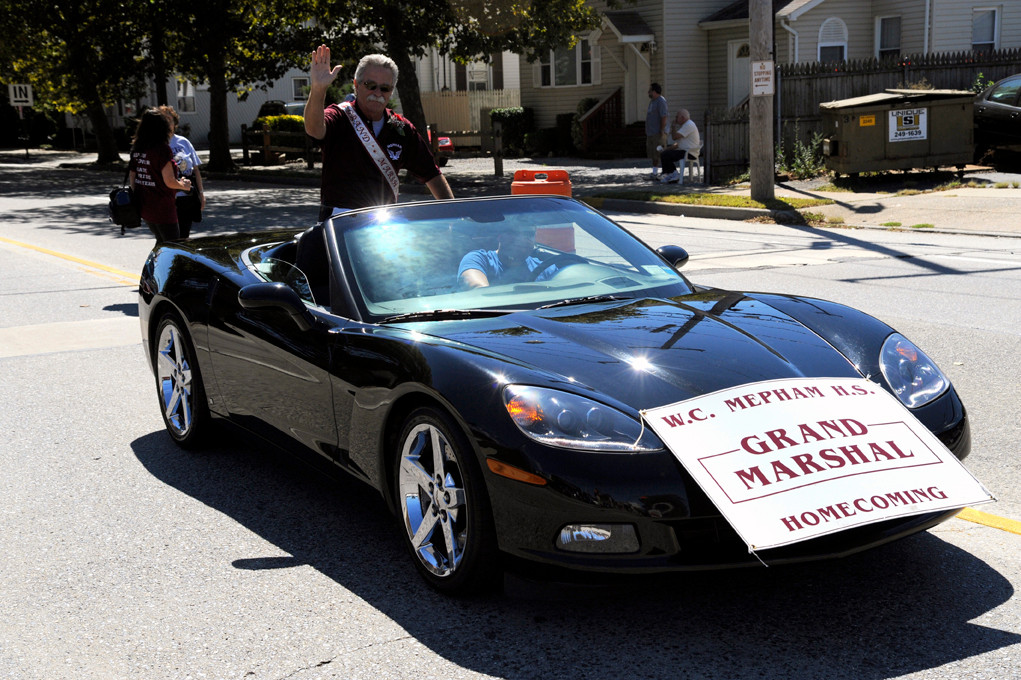 Mike Muscara, Mepham High School�s athletic director, was grand marshal of the Homecoming parade.