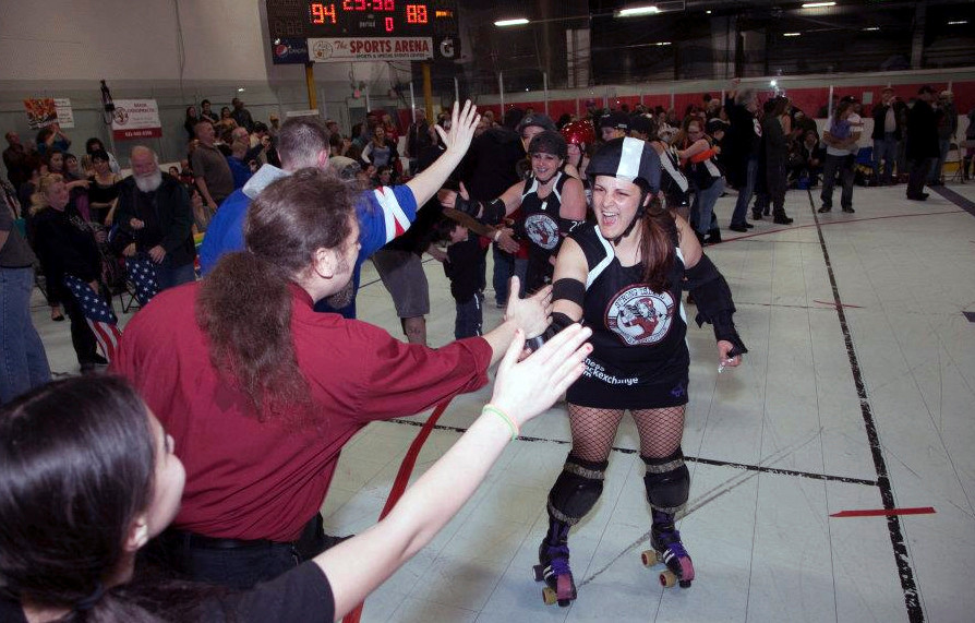 Mean Frostine greeted enthusiastic fans at a bout in Worcester, Mass.