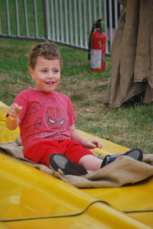 Jude Miller, 5, of Hewlett, along with his brother, Jack, 9, went up and down the slide multiple times.