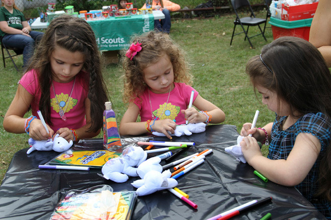 Mia and Gianna Rando added their own artistic touches to a stuffed 