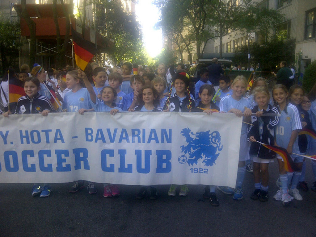 The HOTA Lightening Girls' Soccer Club marched along 5th Avenue for NYC's German-American Stueben Parade.