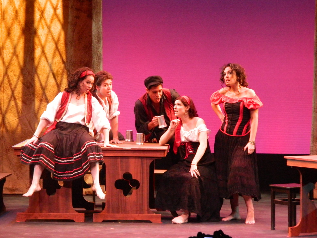"The Long Island Opera arrives at the Madison Theatre in Rockville Centre with ""Rigoletto"" on Oct. 6. LIO reintroduced itself to area audiences with a production of ""Carmen"" at Guild Hall on Sept. 15. LIO's ""Carmen"" included (from left) soprano Margaret Meyer as Frasquita, baritone Thaddaeus Bourne as Dancairo, tenor Christopher Sierra as Remendado, mezzo-soprano Elizabeth Pojanowski as Mercedes, and mezzo-soprano Kara Cornell as Carmen."