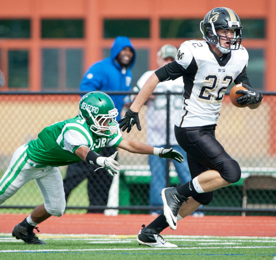 West Hempstead's Vincent DiLorenzo breaks free for a long gain during last Saturday's 31-27 Conference IV setback at Seaford.