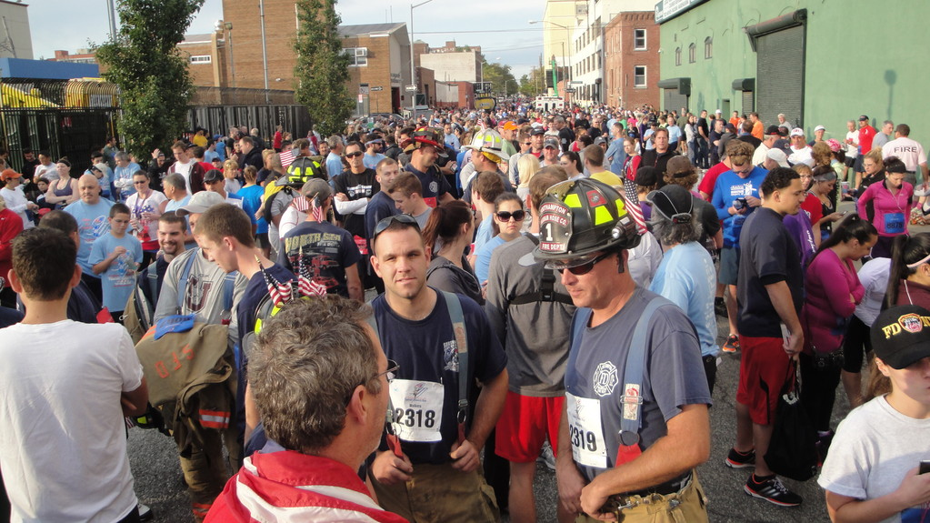 Runners and walkers lined up in the Red Hook section of Brooklyn in the early morning on Sunday.
