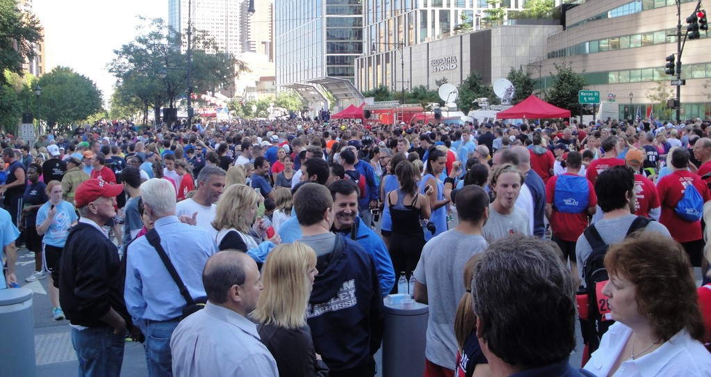 More than 30,000 runners took part in this year's Tunnel to Towers Run. Participants took a breather after the race.