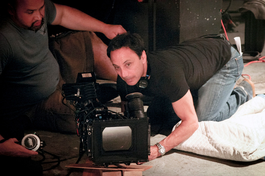 """Broadway's Fines"" writer/director Stephen Marro sets up a shot."