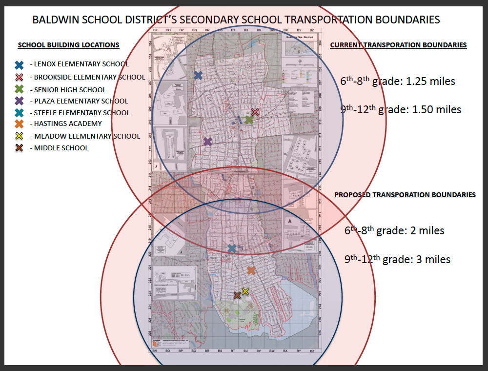In the chart above, the outer ring represents the expanded boundary inside which busing would not be provided to BHS or BMS students.