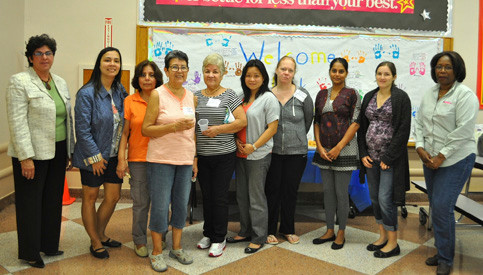 PTA members at Stewart Manor School welcomed new parents with a brunch.