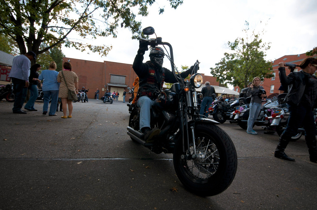 """Steve-O Bones"" took his Harley to Plattduetsche Park Restaurant in Franklin Square, which hosted the after-party for the fifth annual Rocking the Road for a Cure motorcycle and classic car run to raise money for breast cancer research."