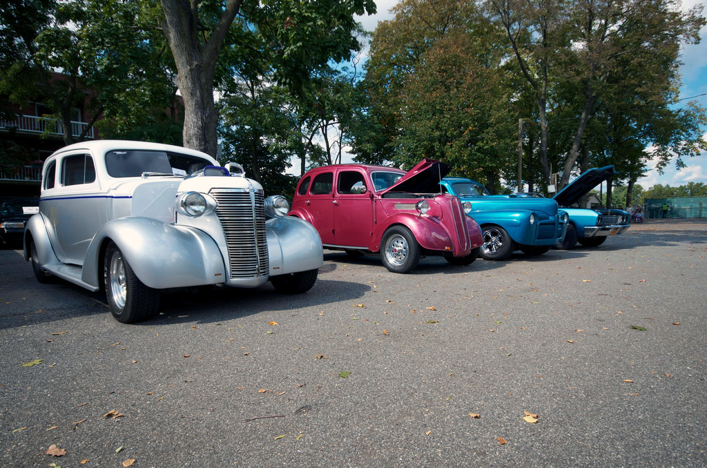 A gray 1938 Chevy 2DSD ownded by Michale Sala, a blue 1967 Buick Sklark owned by Kenny Dyckman, and a blue 1942 Ford Coup ownded by Ken Faso were on display.