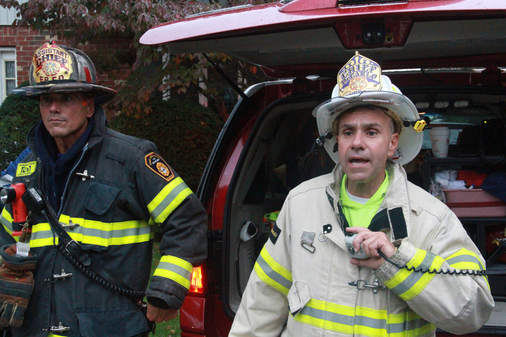 East Rockaway Fire Assistant Chief Ed Reicherter, left and Lynbrook Fire Chief Anthony DeCarlo.