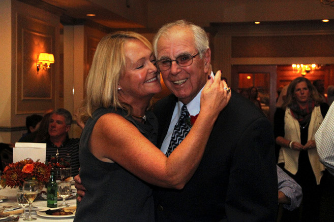 Mary Beth Croutier congratulated former Mayor Eugene Murray at the 25th anniversary of the fund, which took place at the Rockville Links Country Club, where the charity held its first fundraising dinner.