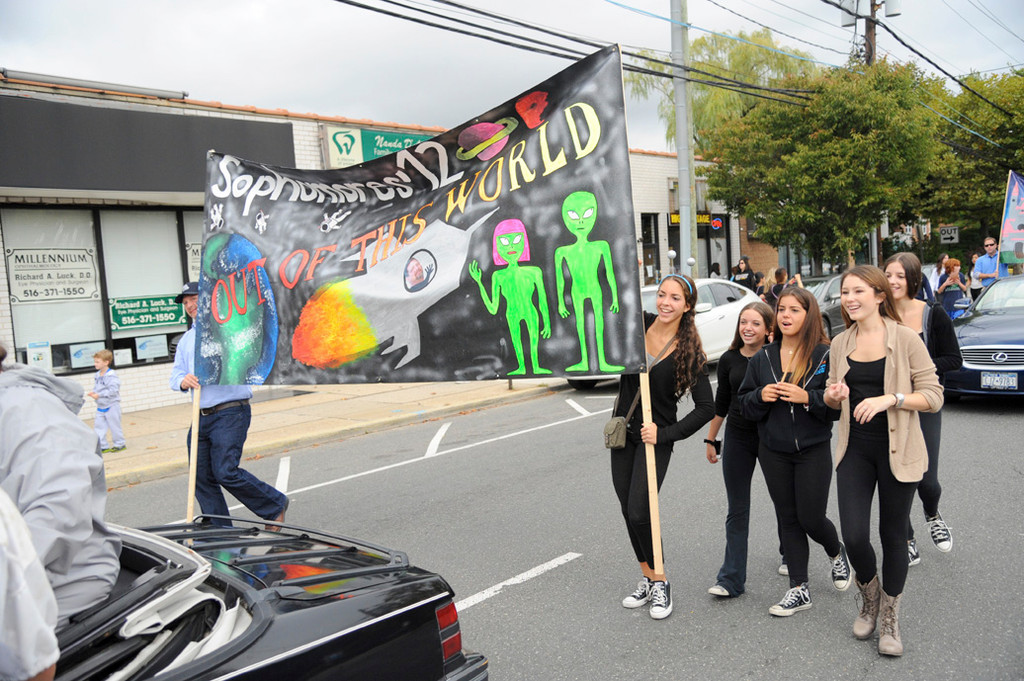 Hewlett sophomores marched down Broadway and displayed their class's spaced out uniqueness.