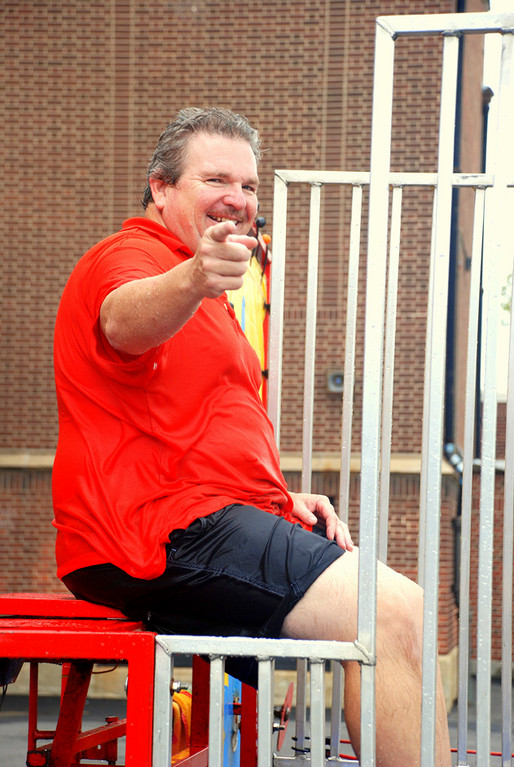 Trying to submerge school principal Tim Silk in the dunk tank was a popular attraction!