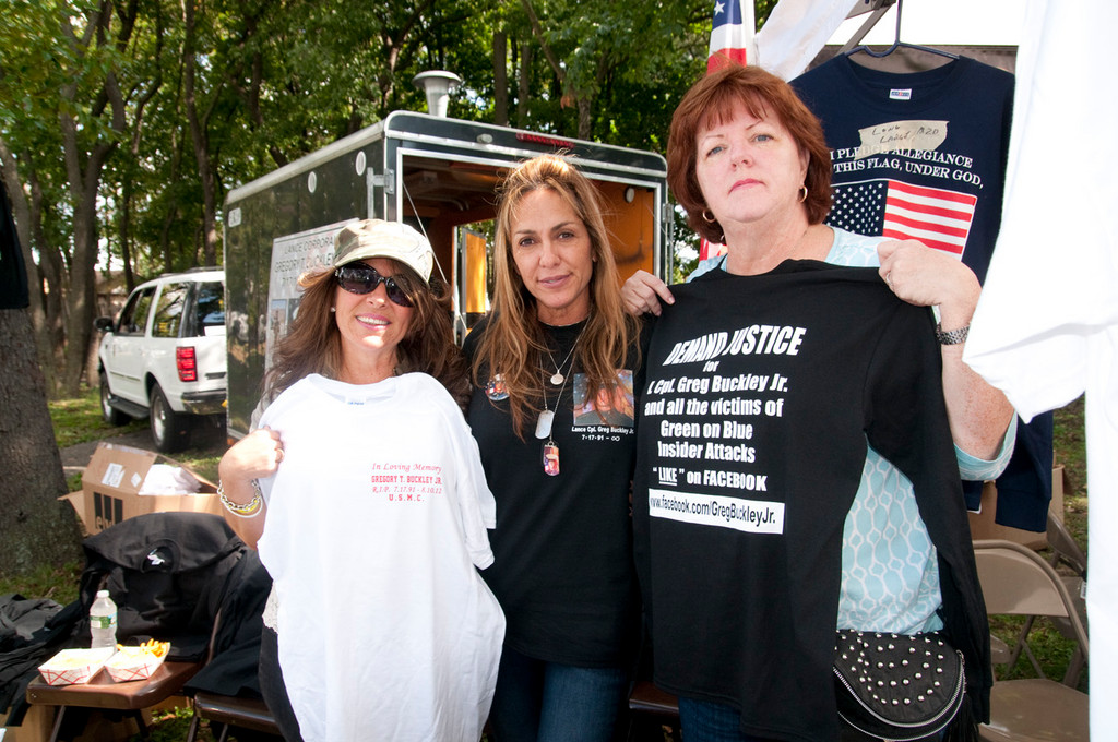 Mary Musto, Marina Buckley, Mary Liz Grosseto manned a table in Greis park in honor of Lt. Cpl. Gregory T. Buckley, Jr.