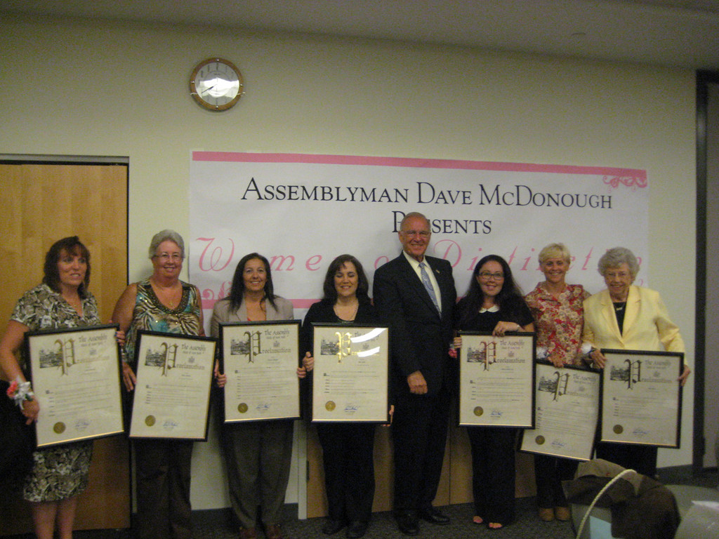At his fourth annual Women of Distinction ceremony, New York State Assemblyman Dave McDonough presented awards to, from left, Anne Barracca of East Meadow, Patrice Sammut of North Bellmore, Nancy Leonard (accepting the award for her sister Patricia Birbiglia of Bellmore, Sue Nicola of Seaford, Rebecca Heather Levy of Wantagh, Marla Kilfoyle of Bellmore and Polly Dwyer of Levittown.