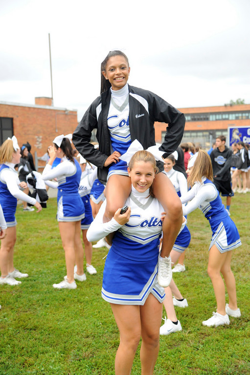 Ely Caerera, on top, and Nicole Witte had some fun at Homecoming.
