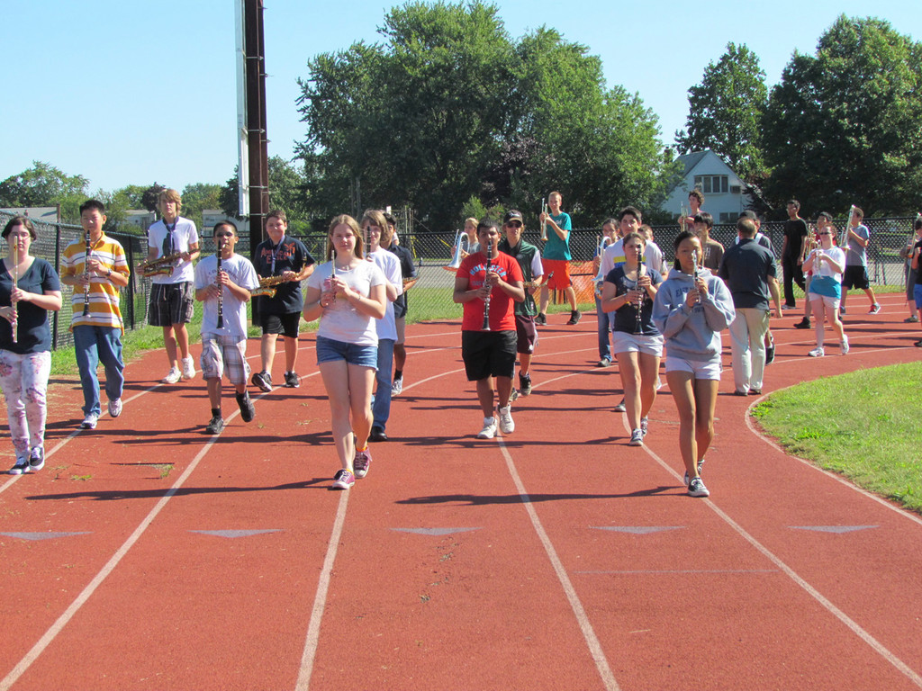 W.T. Clarke high schoolers practiced marching in formation during the annual back-to-school band clinic.
