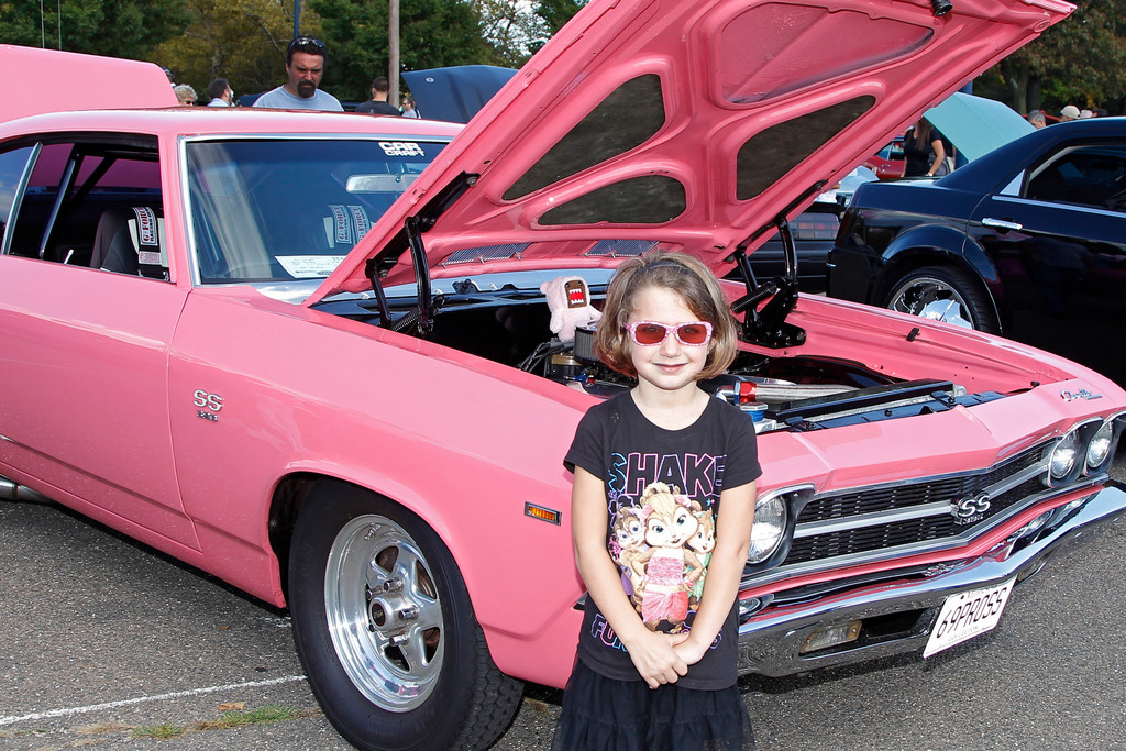 Madison Seidl wore hot pink shades to match the 1969 Chevy Chevelle she posed near. The 5-year-old lives in Franklin Square.