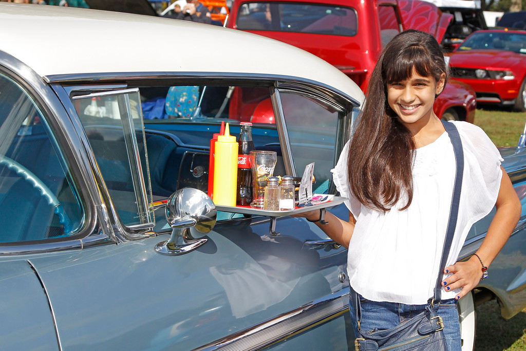 Isabella Montanino, hailing from Deer Park, posed with a 1958 Chevy Impala.