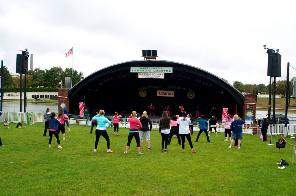 About 30 women attended the first annual Zumbathon on a cloudy Saturday morning.