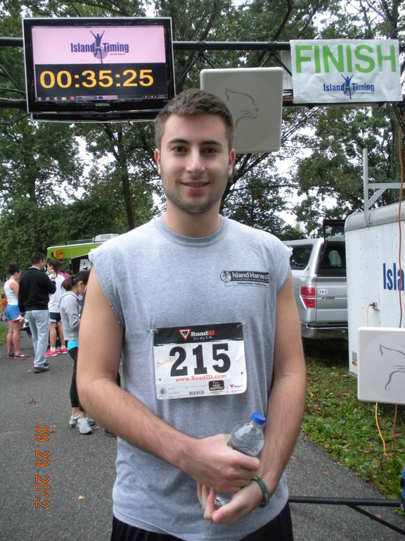 Jared Benatar, 17, ran a 5K race in Eisenhower Park to raise funds for Island Harvest.