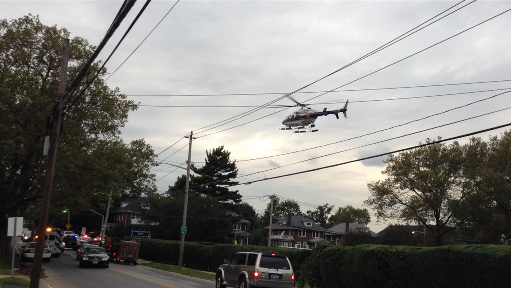 The helicopter took off from the Lawrence Woodmere Academy with the 22-year-old woman aboard on its way to NUMC.