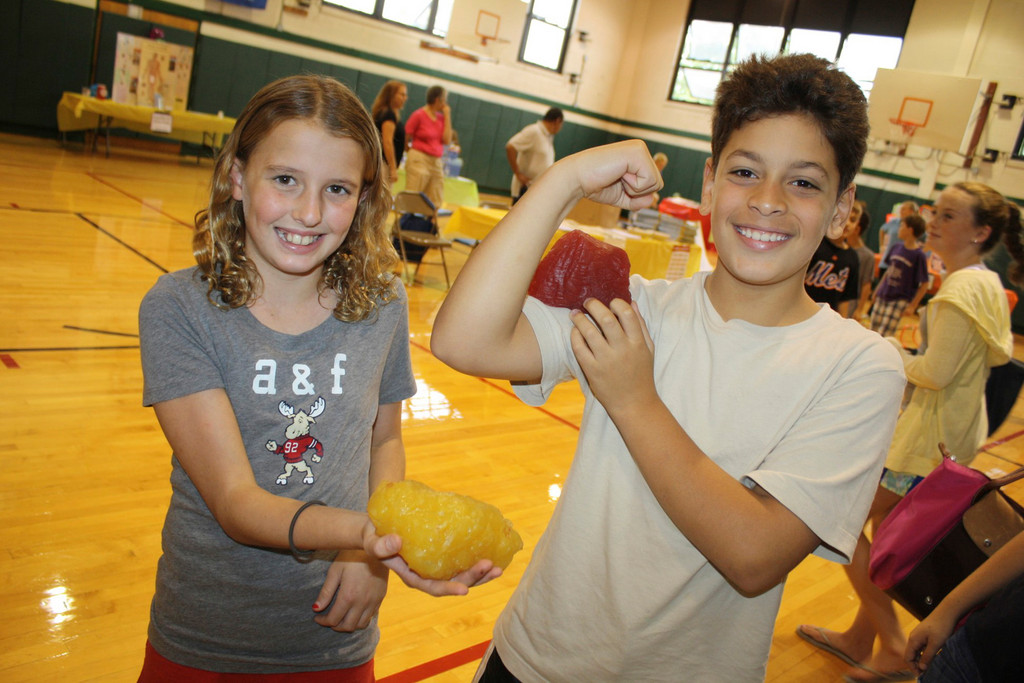 Alex Chruma, 11, and Justin Fiallo, 10, were shown what one pound of fat and one pound of muscle look like at the SSMS Health and Wellness fair